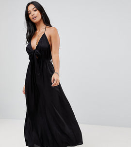 ASOS PETITE Woven Tie Front Maxi Beach Dress - Black