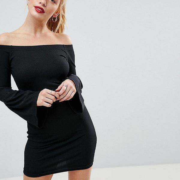 Daisy Street Petite Ripped Bardot Dress With Bell Sleeve - Black