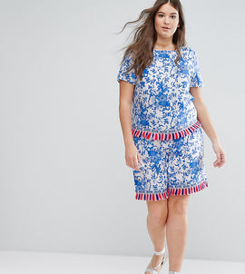 Alice & You Co-Ord Short With Tassel Trim - Multi