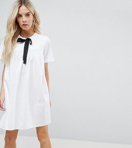ASOS PETITE Smock Dress with Eyelet Detail and Grosgrain Tie - White