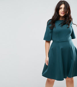 Closet London Plus Kimono Sleeve Skater Dress - Teal