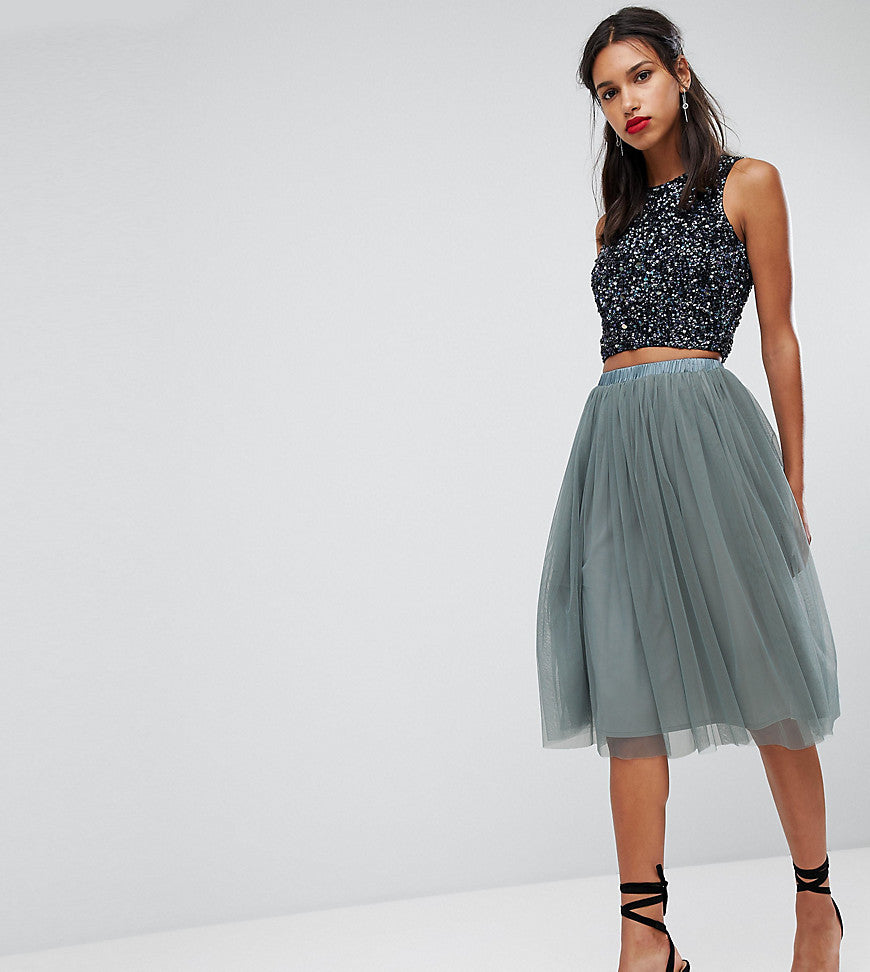 Lace & Beads Tulle Midi Skirt - Grey