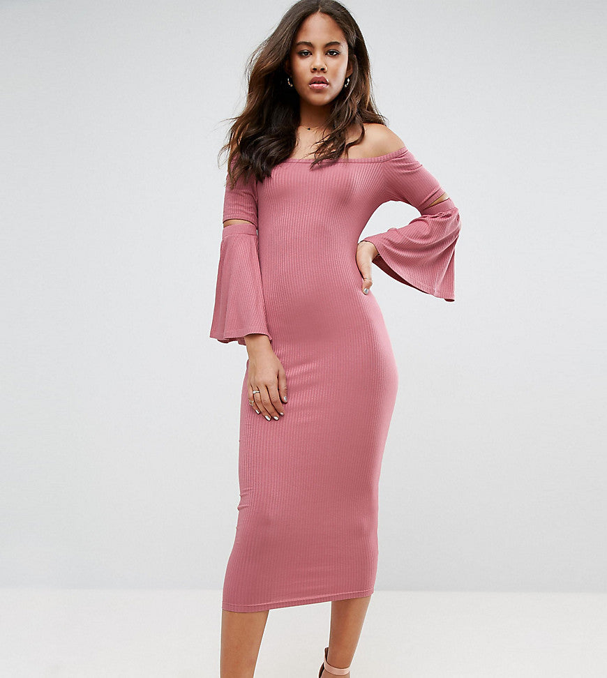 ASOS TALL Ribbed Fluted Sleeve Midi Bodycon Dress - Rose