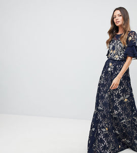 Frock And Frill Tall Allover Floral Embroidered Lace Maxi Dress With Flutter Sleeve - Navy multi