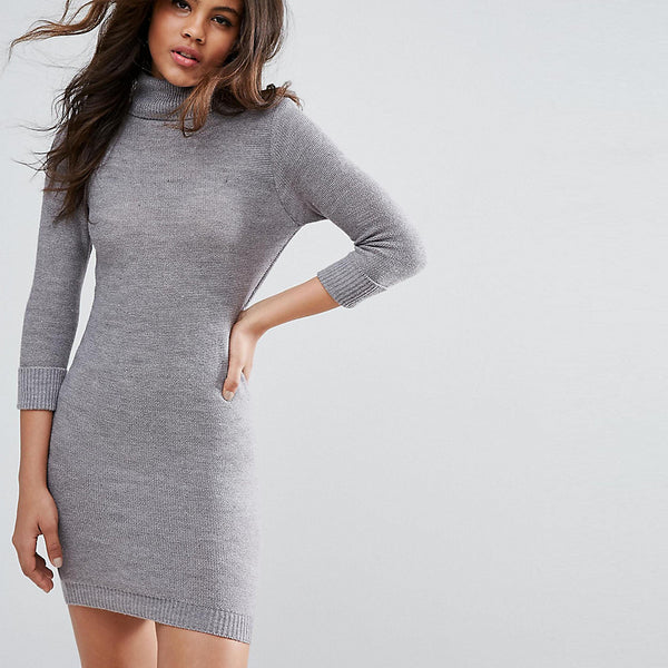 Brave Soul Tall Polo Neck Jumper Dress - Crystal grey
