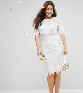 ASOS EDITION Curve Lace Embroidered Midi Wedding Dress - White
