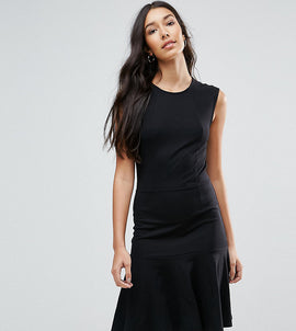 Y.A.S Tall Cirano Panelled Drop Hem Dress - Black