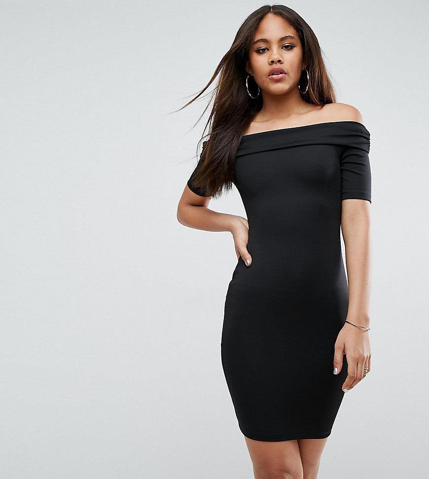 ASOS TALL Super Soft Deep Bardot Mini Bodycon Dress - Black
