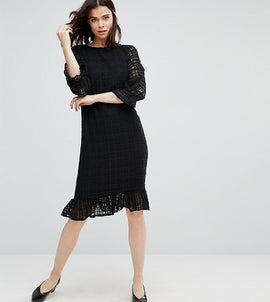 Y.A.S Tall Lace Grid Dress With Peplum Hem - Black