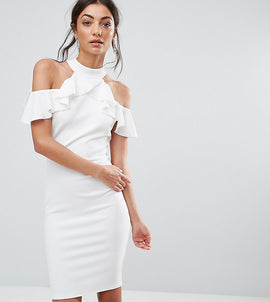 City Goddess Tall Pencil Dress With Ruffle Detail - White