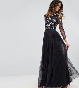 Needle & Thread Ditsy Scatter Tulle Gown - Dust midnight