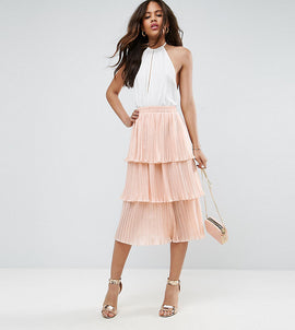 ASOS TALL Tiered Pleated Midi Skirt - Nude
