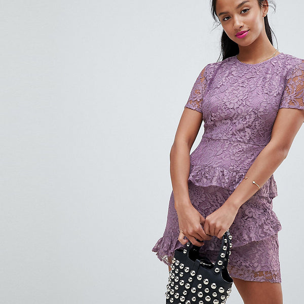 Fashion Union Petite Dress In Lace - Lilac lace