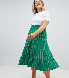 ASOS DESIGN Curve tiered cotton midi skirt in green stripe - Green stripe