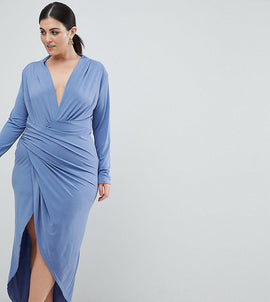 John Zack Plus Wrap Front Maxi Dress - Airforce blue
