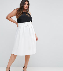 ASOS CURVE Scuba Prom Skirt with Circle Belt - White