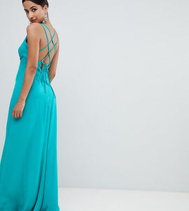 Flounce London plunge front maxi dress with strappy back - Green