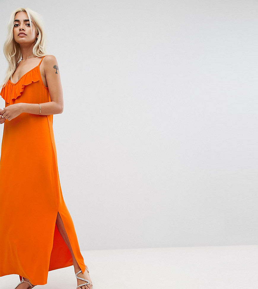 ASOS PETITE Maxi Dress With Asymmetric Frill Detail - Orange