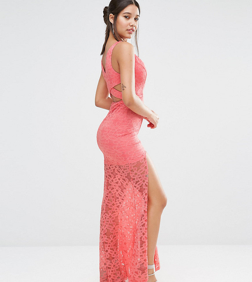Love Triangle Plunge Front Lace Maxi Dress with Train - Coral
