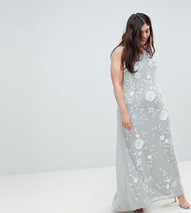Frock And Frill Plus Premium All Over Embellished High Neck Trophy Maxi Dress - Grey/white