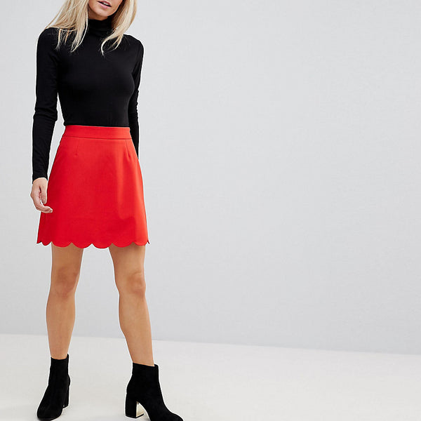 ASOS PETITE A-Line Mini Skirt with Scallop Hem - Red