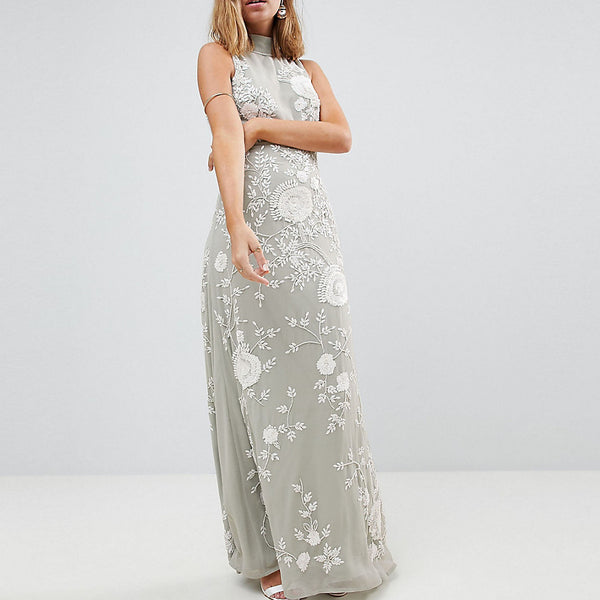 Frock And Frill Petite Premium All Over Embellished High Neck Trophy Maxi Dress - Grey/white