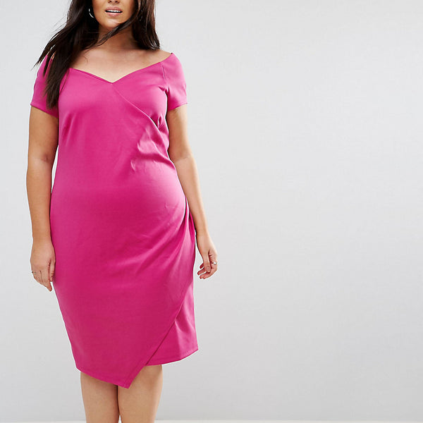 ASOS CURVE Wrap Over Bardot Pencil Dress In Scuba - Fuchsia