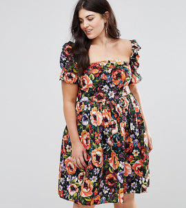 Club L plus Dark Base Floral Print Summer Dress with Special Sleeves - Black floral