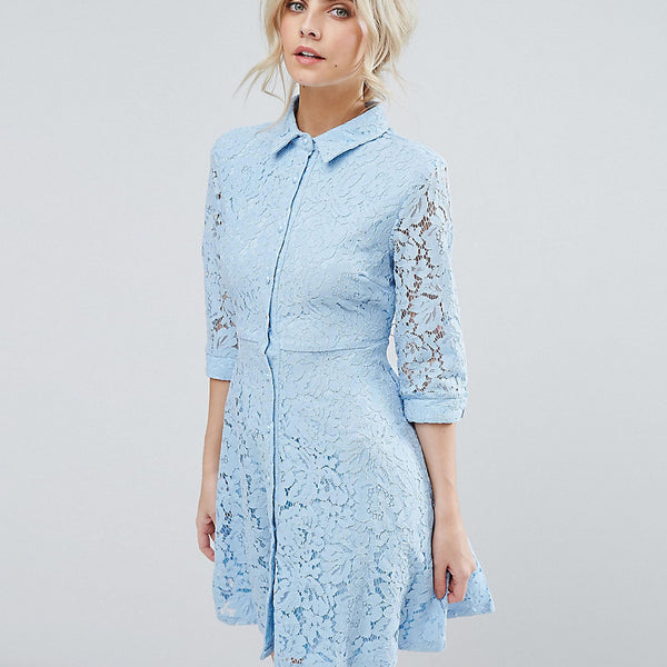 City Goddess Skater Shirt Dress In All Over Lace - Powder blue (19)