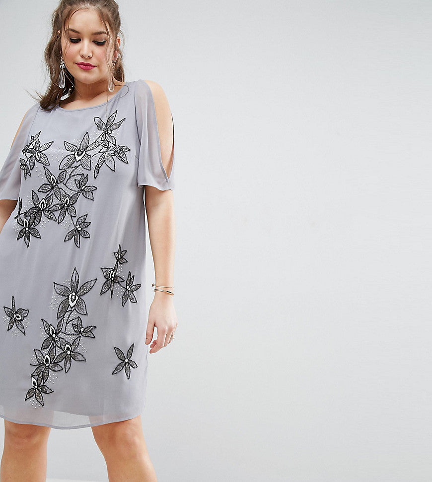 ASOS CURVE Cold Shoulder Shift Dress With Flower Embellishment - Grey