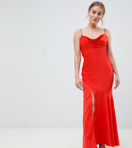 ASOS DESIGN Petite bias cut satin slip maxi dress with drape neck - Orange