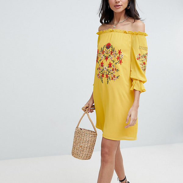Parisian Tall Off Shoulder Embroidered Dress - Yellow