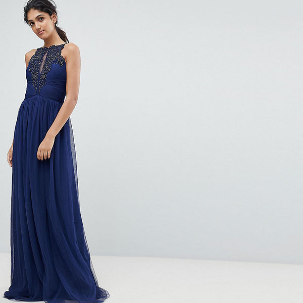 Little Mistress Tall Applique High Neck Maxi Dress - Navy