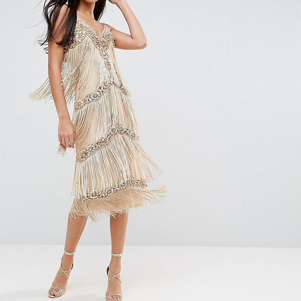 A Star Is Born Tall Embellished Tassel Midi Dress - Gold
