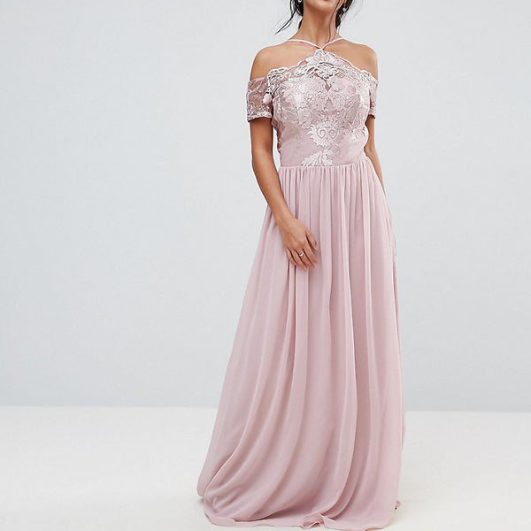 Chi Chi London Petite Halter Maxi With Off Shoulder Lace Detail - Pink