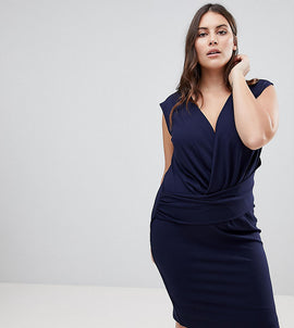 Lipsy Curve Plunge Front Bodycon Mini Dress - Navy