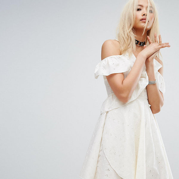 Milk It Vintage Wrap Front Festival Dress In Broderie - Cream