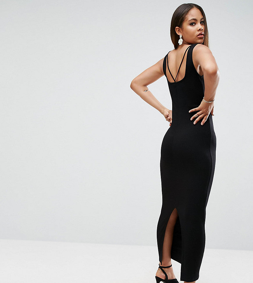 ASOS TALL Strappy Back Rib City Maxi Dress - Black