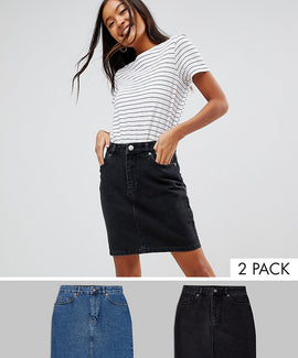 ASOS DESIGN denim original high waisted skirt in washed black and mid blue 2 pack - Black and blue