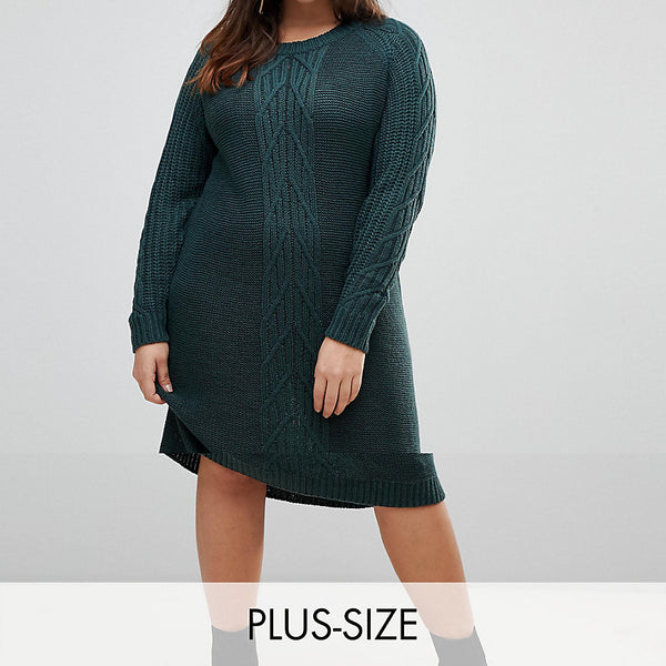 Junarose Cable Knit Jumper Dress - Green