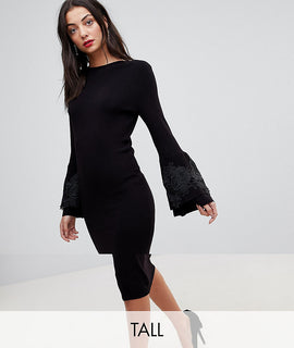 Y.A.S Tall Knitted Bodycon Midi Dress With Lace Applique Bell Sleeves - Black