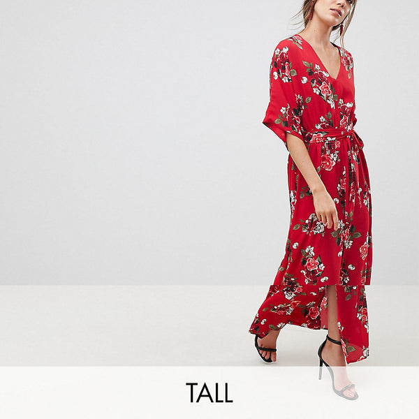 Y.A.S Tall Floral Maxi Kimono Dress - Red