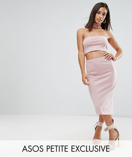 ASOS PETITE Jersey Midi Pencil Skirt Co-ord - Nude