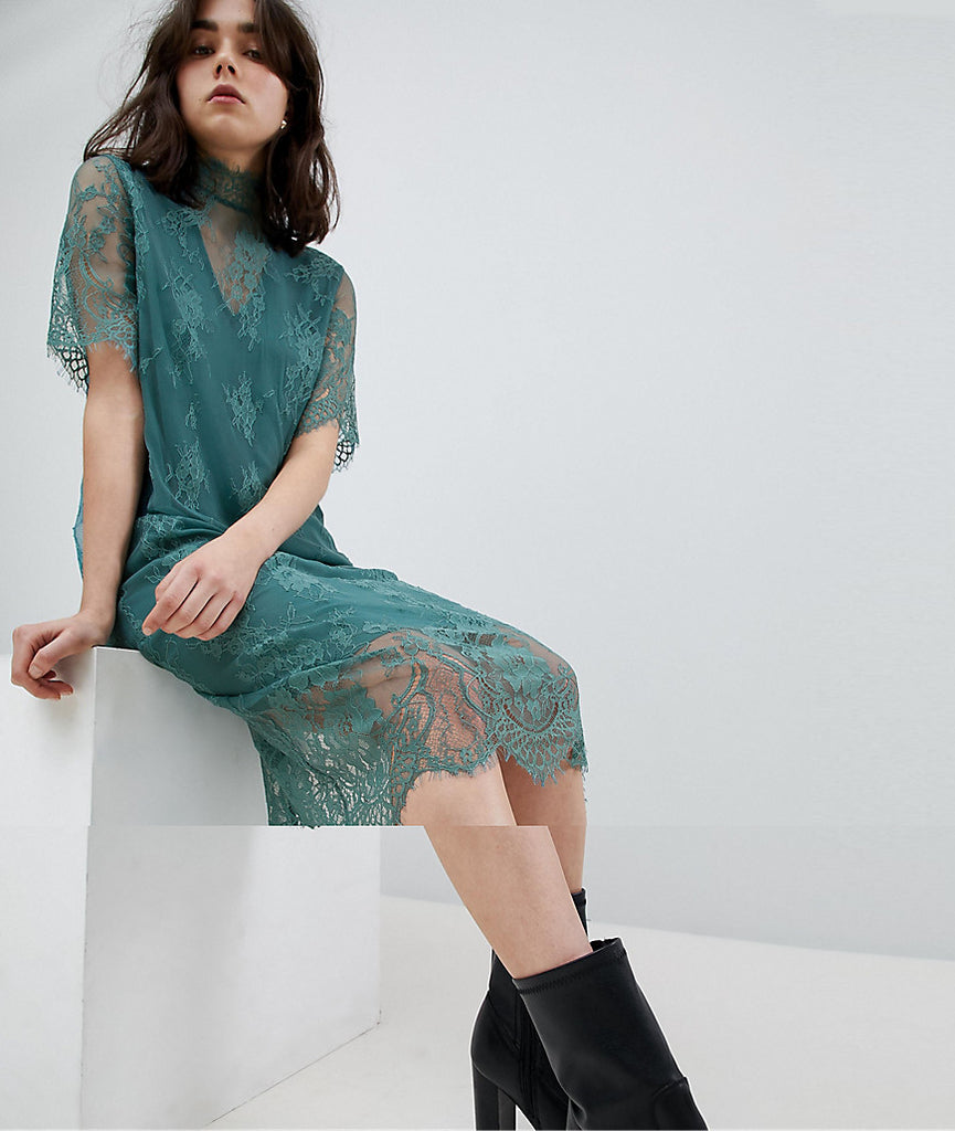 Pieces T-Neck Lace Midi Dress - Green