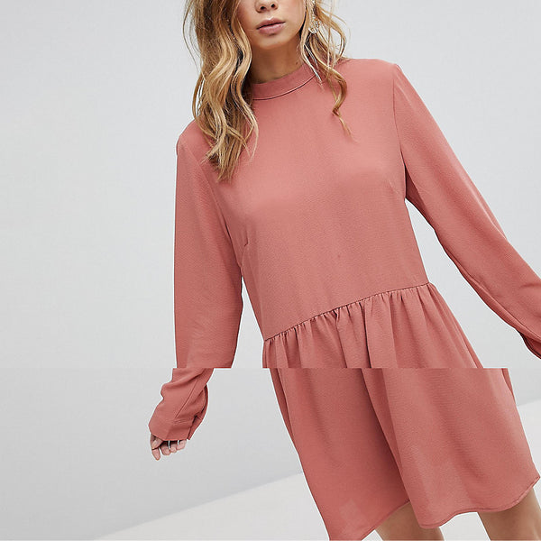 Pieces Bow Smock Dress - Pink