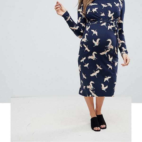 Mamalicious Bird Print Jersey Dress - Multi