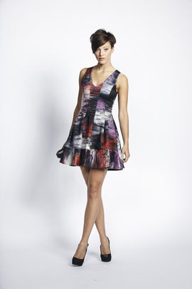 Liquorish Red And Pink Abstract Digital Print Evening Dress