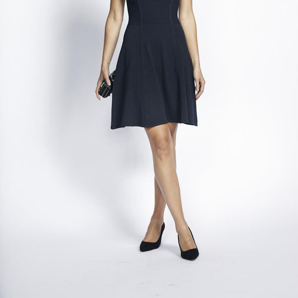 Liquorish Knitted Navy Formal Dress With Flare Skirt