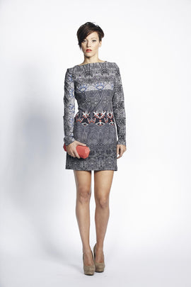 Liquorish Grey Abstract Digital Print Evening Dress