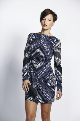 Liquorish Violet Black Aztec Digital Print Evening Dress
